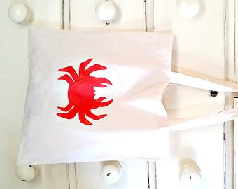 Crab Bag, Tote Bag, Crustacean, Cotton Tote, Shopping Bag, Eco Tote Bag, Reusable Grocery Bag