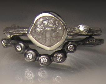 Rough Diamond Ring, Raw Diamond Twig Ring, Rough Diamond Engagement Ring