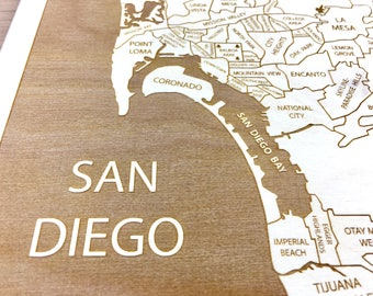 San Diego California Neighborhood Map - San Diego CA Framed Wood Hanging Etched Art, Wedding Puzzle Christmas Gift for Bestfriend Custom