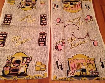 Vintage Dish Cloths Tea Towels Butcher Baker