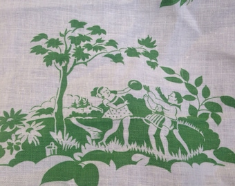 Vintage Green and Warm White Midcentury  Scenes Fabric Toile Children Butterflies Birds
