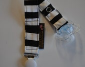 Gender Neutral Black & White Stripe Soother/Pacifer Clip with White Clip