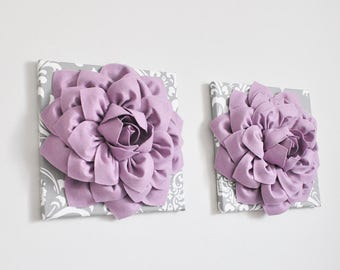 Baby girl room art, Kids Room Decor, Nursery wall Art print, Dahlia Nursery Bedding, gray damask and lilac flowers, purple, lavender, gift