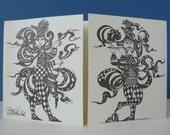 Bjorn Wiinblad Jesters vintage greeting card perfect for framing