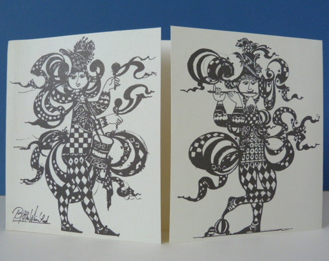 Bjorn Wiinblad Jesters vintage greeting card perfect for framing