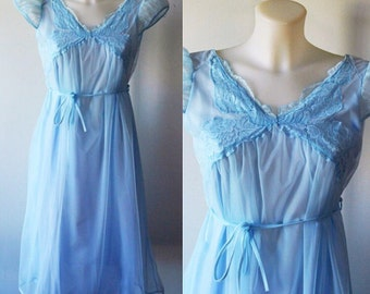Vintage Blue Chiffon Nightgown, Gay Lure. 1960s Nightgown, Chiffon Nightgown, Vintage Nightgown