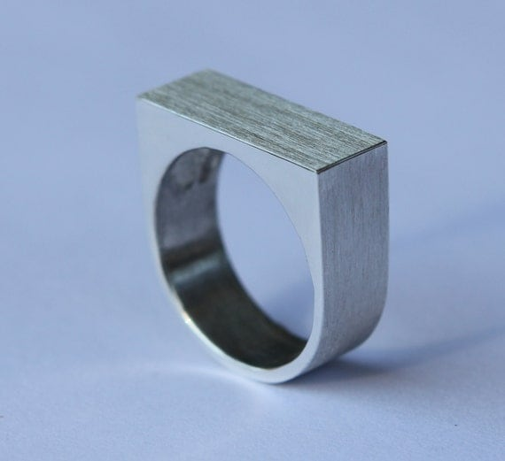 Modern Man's Wedding Band Monolithic Sterling Silver Ring Free Standard Shipping