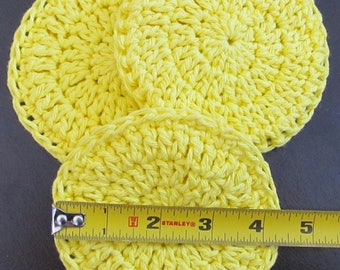 "Cotton Facial Scrubbies ~ 100% cotton ~ 4 1/4"" in diameter ~ double thick ~ set of 3 ~"