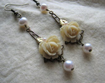 Gold dangle earrings | rose | pearl | bridal | art nouveau | brass | chandelier