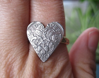 England Scotland UK Sixpence Heart Ring with Textured Brass Band, Size 8. Ready to Ship.