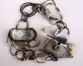 RESERVED FOR RG///Aquamarine Crystal/Luna Druzy Geode Fragment/Cottonwood Leaf Specimen Contraption Bracelet with Keum Boo 24k Gold