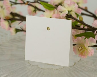 Blank, Square, Crystal-Studded Seating Card