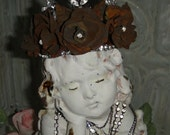 Vintage Chalky Statue Rusty Rose Crown Princess Rustic Rhinestone Mourning Angel Shabby Cottage French Chic Girl Statue Art Piece