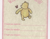 Custom Listing For Penny - 16 Custom Winnie The Pooh Wish Cards, Baby Shower Wish Advice Card Tags For Baby Boy Or Girl - Vintage Style