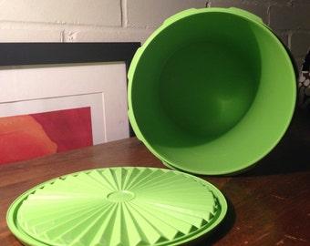 Vintage green round Tupperware storage container - 1970's