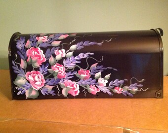 Painted MAILBOX Romantic Roses and wisteria, roses mailbox, floral postmount curbside mailbox, UV Resistant Paints