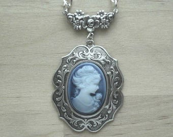 Blue Cameo Necklace - Cameo Necklace - Cameo Jewelry - Victorian Jewelry - Mothers Day Gift - Blue Cameo Necklace Gift for Mom