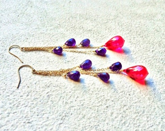 Gold Earrings. Red Topaz Purple Amethyst. OOAK JEWELRY