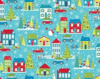 Mulberry Lane from Benartex - Full or Half Yard Christmas Houses, Trees, Snowflakes, Snowmen on Aqua - Christmas Trees