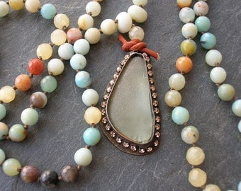 Knotted sea glass and gemstone necklace - Castaway - beach pendant necklace long necklace seafoam, beach glass, long beaded necklace