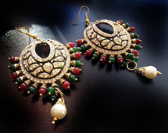Gold Chandelier Earrings,Red Green Gold Chand Bali,Bridal Earrings,wedding,Ruby Chandelier Earrings,Holiday collection by Taneesi