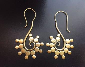 Bohemian earrings-Gold Spiral earring,Long hook earring- coachella -Etsy Jewelry,BOHO Tribal Brass earrings,ethnic jewelry burning man