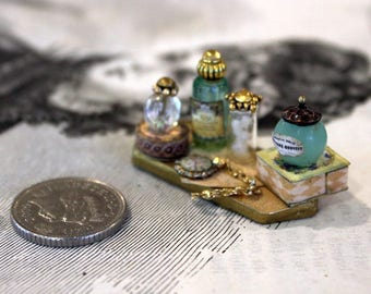 Dollhouse Miniature Tray of Ladies Toiletry Items 1:12 Scale Handmade OOAK Small Oblong Turquoise Gold Pocket Watch