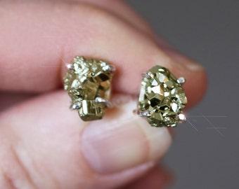 Gold Dust - Beautiful Pyrite Druzy (Drusy) Sterling Silver Earrings