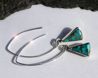 Desert Sky - Turquoise and Copper Sterling Silver Earrings