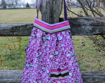 Girls Retro Apron Girls Apron Fox Apron Toddler Apron Kids Apron Purple Fox Handmade 4T-6