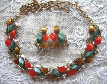 Vintage Thermoset Necklace & Earrings ~ Orange ~ Brown ~ Green