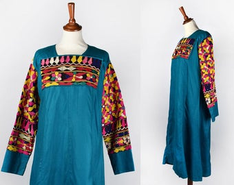 Long Teal Dress with Embroidered Chest and Sleeves