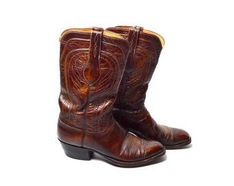 Embossed Leather Men's Lucchese Boots, Size 9 D