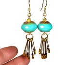 Fun and Funky Turquoise Dangle Earrings, Safety Pin Earrings, Unique Upcycled Jewelry