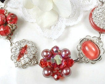 OOAK Red Vintage Bridal/Bridesmaid Bracelet, Ruby Rhinestone Vintage Wedding Earring Bracelet Silver Crystal Cranberry Red Bracelet 1950s