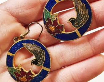 Vintage Cloisonne Birds Circle Dangle  Earrings