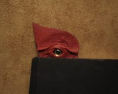 Grichels leather bookmark - red with red and gold slit pupil shark eye