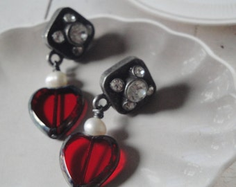 Red Hearts Freswater Pearls Valentine Earrings Gift For Her