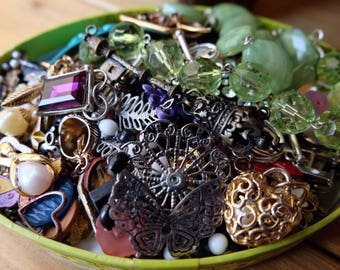 Detached, Repurposed, Broken, Recycled, Vintage, Jewelry Supplies, Craft making Lot