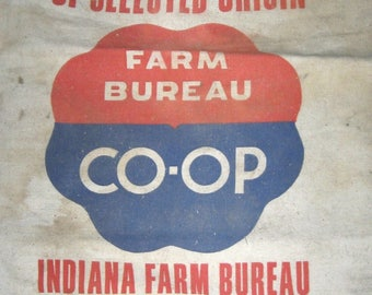 Vintage CO-OP Seed Feed Bag Sack Red Blue Graphics Feedsack