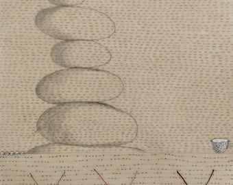 Stack of Stones in Balance / Mixed Media Drawing in Beeswax / Balance / Diary Drawing
