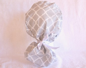 PonyTail Scrub Hat, Scrub Hat - Nurse surgical Hat, Grey and White