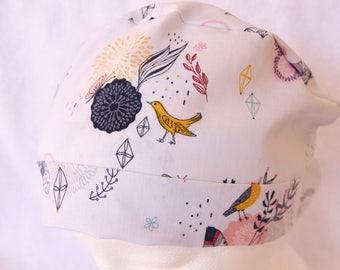 Surgical Scrub Hat, Medical Scrub Cap - Tie Back Scrub Cap - Operating Hat, Modern Contemporary Print on Grey