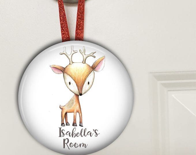 Baby deer hanging door sign - woodland nursery decor- bedroom door signs for kids- personalized door hangers- baby shower gifts - HAN-PERS-3