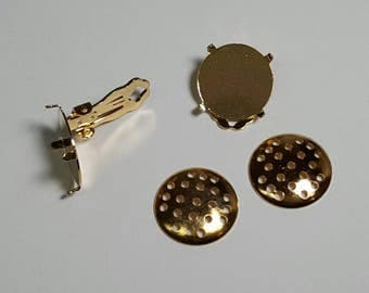 """Gold .75"""" Round Prong Screen Clip Earring Findings Vintage Antique DIY Jewelry"""