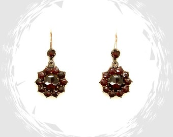 Classic round starcut garnet earrings in Victorian style || ГРАНАТ SCG.WPK