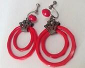 Antique Art Deco Lipstick Red Glass Rings Screwback Dangle Earrings – 1920s Czech Flapper Jewelry