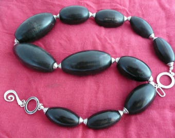Necklace from water buffalo horn beads