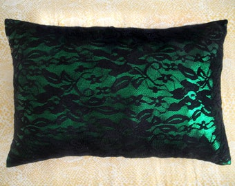Sparkling pillow, green with black lace. Ameynra home decor. 16x11. Modern Style, New