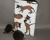 Eyeglass or Sunglasses Case - Zipper Top - Padded Zippered Pouch - Cats - Siamese